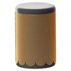 Strings Gold Pouf with Black Velvet by Nika Zupanc
