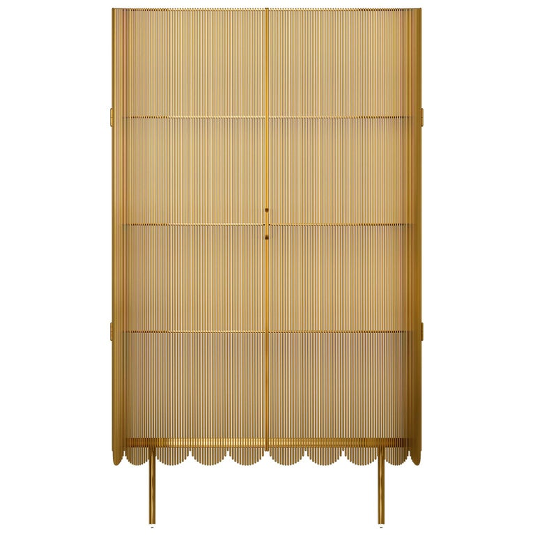 Strings Storage Cabinet Gold by Nika Zupanc For Sale