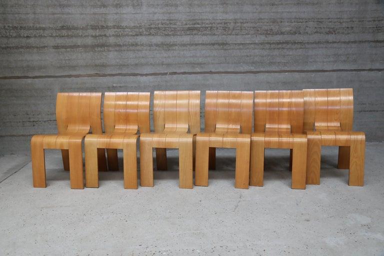 Mid-Century Modern Strip Chair Set of 6 by Gijs Bakker