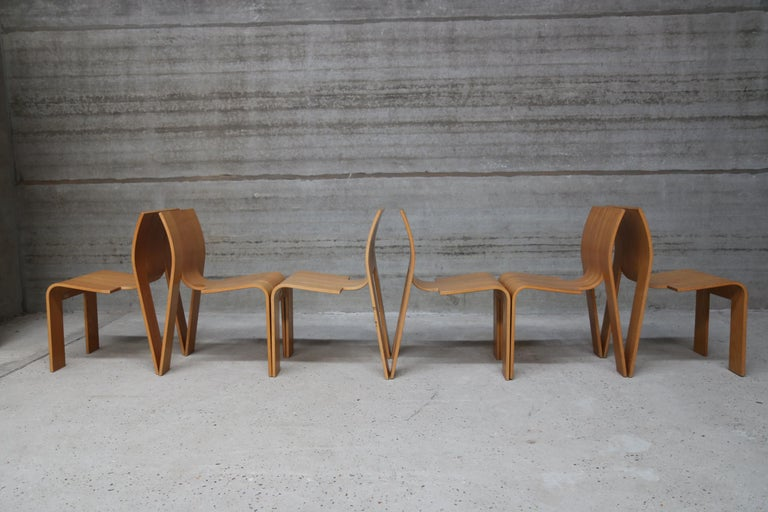 Strip Chair Set of 6 by Gijs Bakker In Excellent Condition In Ostend, BE