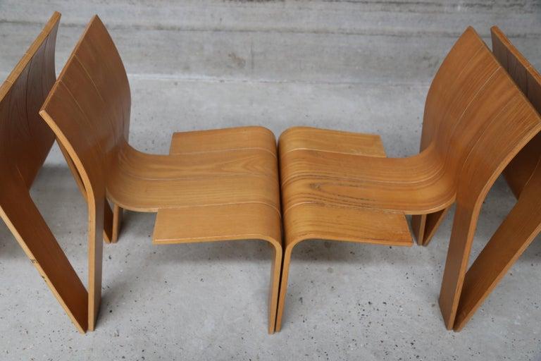 Beech Strip Chair Set of 6 by Gijs Bakker