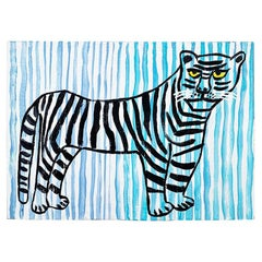 Stripe Folk Art Tiger Painting in Blue and Black on Wood