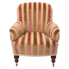 Stripe Upholstered Victorian Armchair