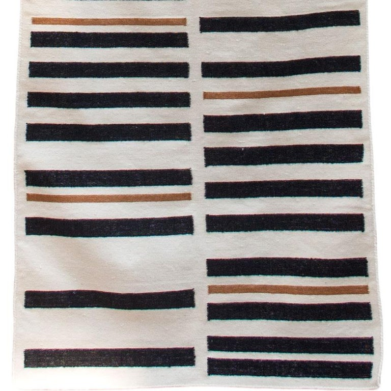 Indian Striped Brynn Handwoven Modern Wool Rug, Carpet and Durrie For Sale