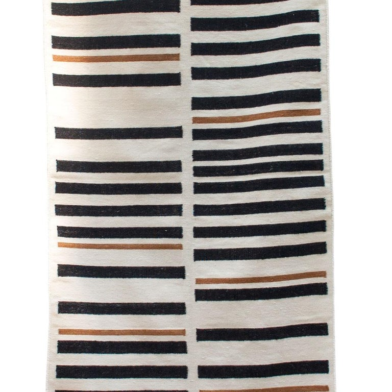 Striped Brynn Handwoven Modern Wool Rug, Carpet and Durrie For Sale 1