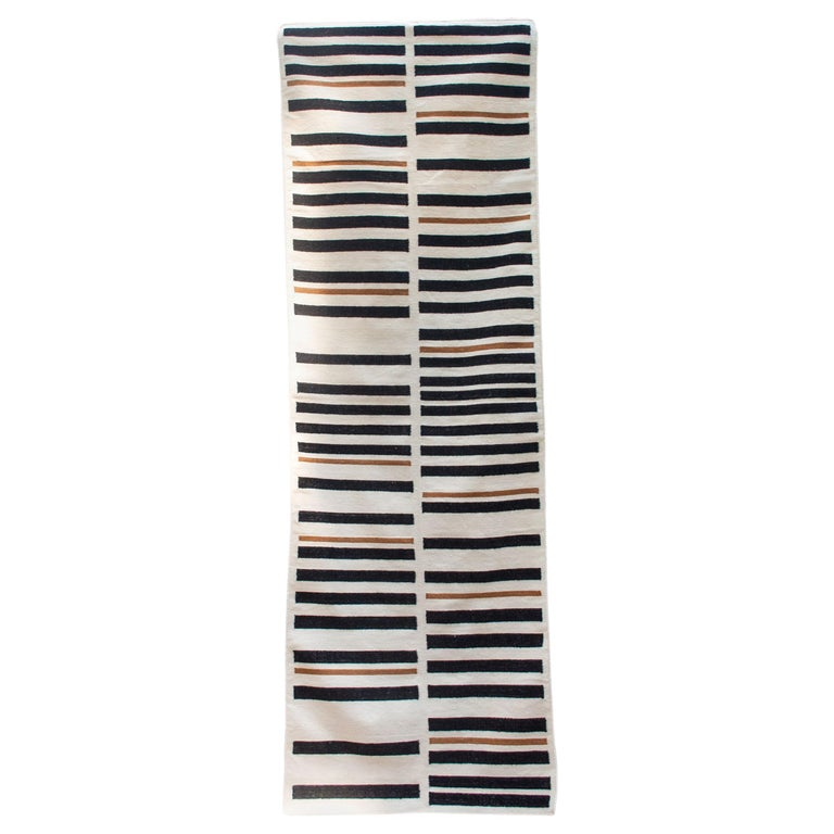Striped Brynn Handwoven Modern Wool Rug, Carpet and Durrie For Sale
