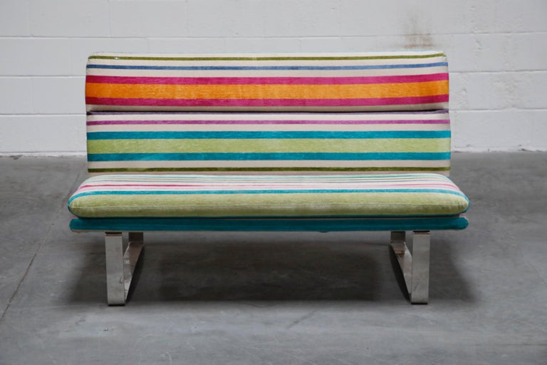 These incredibly stylish and soft striped chenille fabric sofas are comfortable and well-made. Hefty chrome frame and comfortable seating makes this an ideal sofa for a stylish interior. We have four (4) available of these settee's in the style of