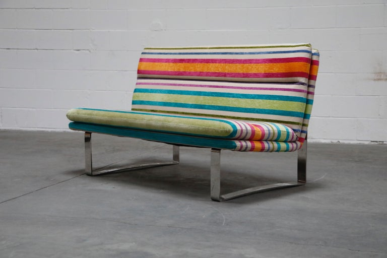 Modern Vintage Striped Chenille and Chrome Loveseat Sofa's, circa 1990s For Sale