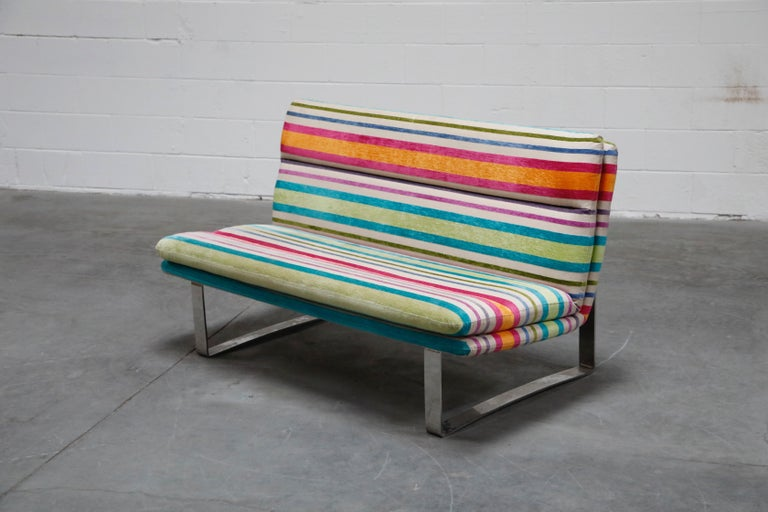 Dutch Vintage Striped Chenille and Chrome Loveseat Sofa's, circa 1990s For Sale