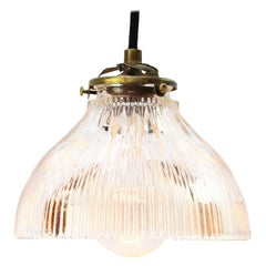 Striped Clear Glass Industrial Holophane Hanging Pendants Lights