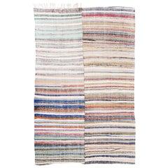 Striped Colorful Cotton Kilim, Central Anatolia