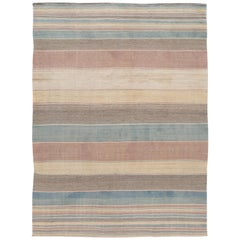 Striped Colorful Modern Flat-Weave Kilim Room Size Wool Rug