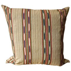 Striped Ikat Ticking Cotton Pillow, French, 19th Century