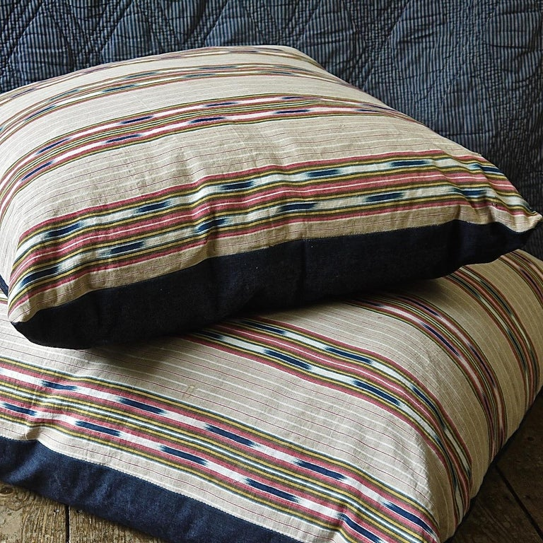 Striped Ikat Ticking Floor Pillow French 19th Century For Sale 5