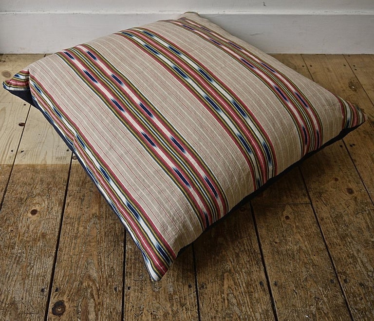 Country Striped Ikat Ticking Floor Pillow, French, 19th Century For Sale