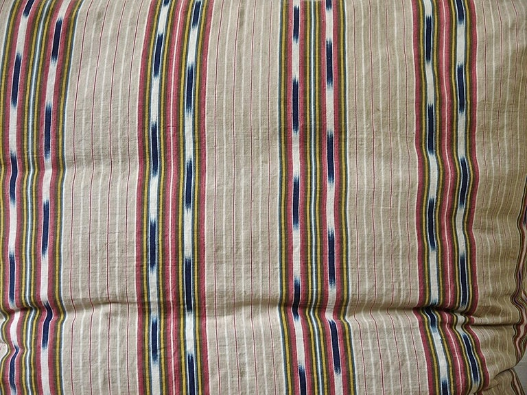 Country  Striped Ikat Ticking Floor Pillow French 19th Century For Sale