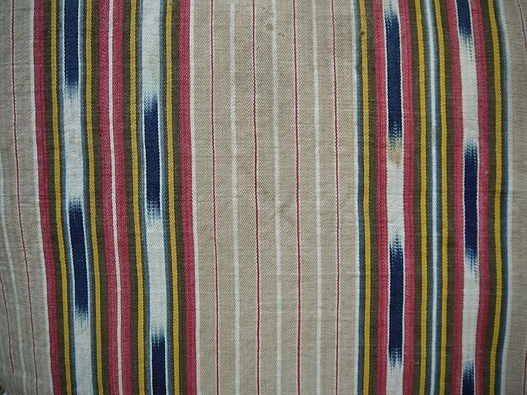Linen Striped Ikat Ticking Floor Pillow, French, 19th Century For Sale
