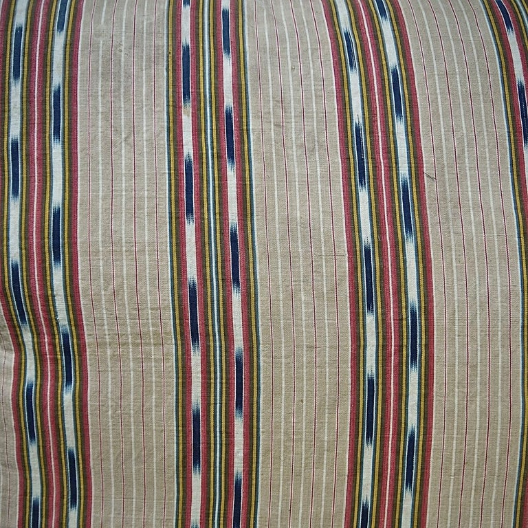 Cotton  Striped Ikat Ticking Floor Pillow French 19th Century For Sale