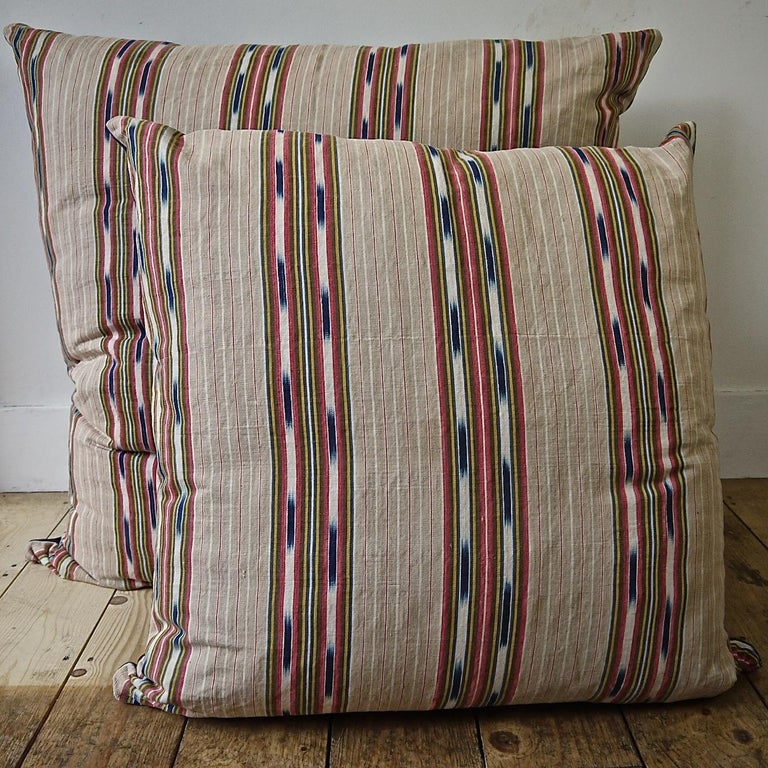 Striped Ikat Ticking Floor Pillow, French, 19th Century For Sale 2