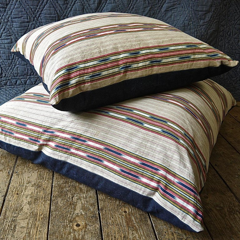 Striped Ikat Ticking Floor Pillow French 19th Century For Sale 3