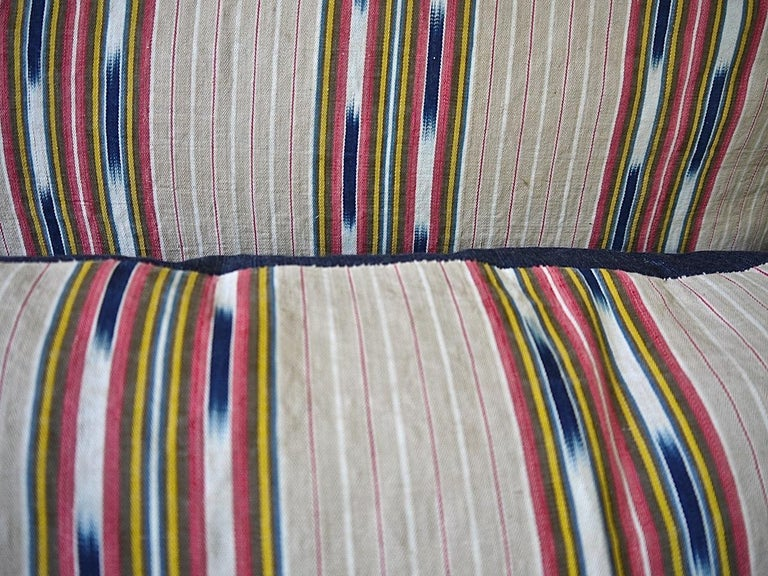 Striped Ikat Ticking Floor Pillow, French, 19th Century For Sale 4