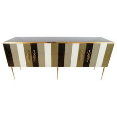 Striped Ivory, Black and Taupe Green Tinted Glass and Brass Sideboard, Italy