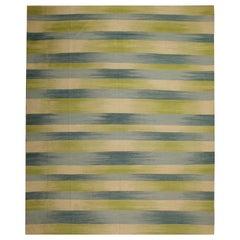 Striped Kilim Rugs Area Rug Handwoven Green Blue Wool Kilim
