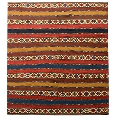 Striped Kilim Traditional Wool Antique Caucasian Kilim Rug