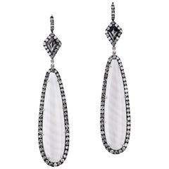 Striped Madagascar Chalcedony Drop Earrings Natural Black Diamond with Pave