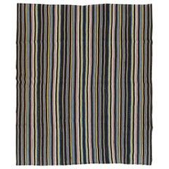 Striped Mid-20th Century Handmade Turkish Flatweave Kilim Room Size Carpet