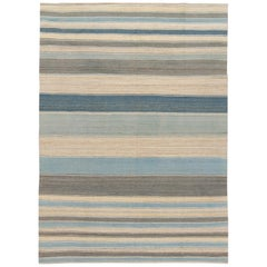 Striped Modern Kilim Handmade Wool Rug