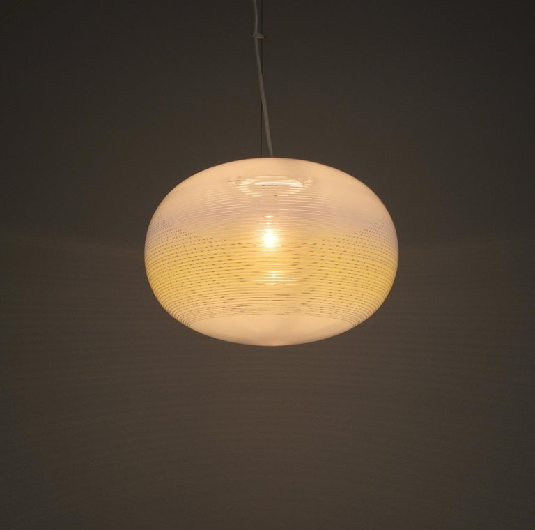 Mid-Century Modern Striped Murano Glass Ball Pendant Lamp Yellow Blue White, Midcentury, Italy For Sale