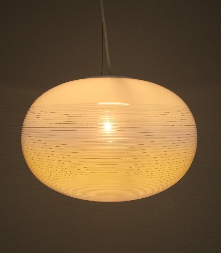 Italian Striped Murano Glass Ball Pendant Lamp Yellow Blue White, Midcentury, Italy For Sale