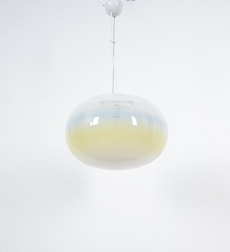 Striped Murano Glass Ball Pendant Lamp Yellow Blue White, Midcentury, Italy In Good Condition For Sale In Vienna, AT