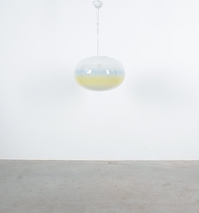 Late 20th Century Striped Murano Glass Ball Pendant Lamp Yellow Blue White, Midcentury, Italy For Sale