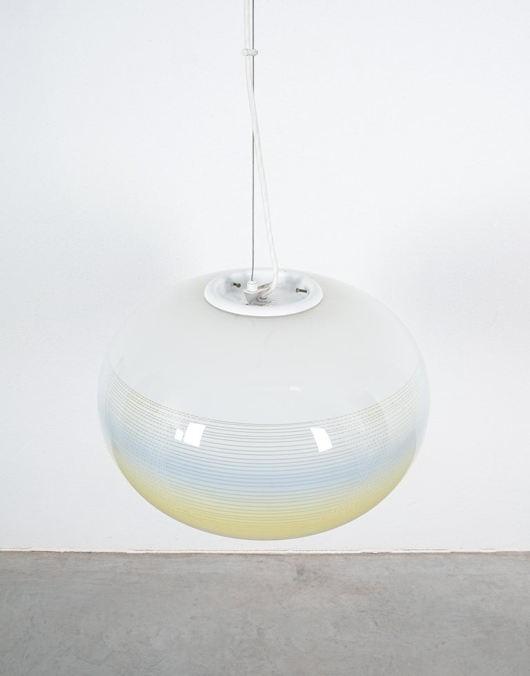 Brass Striped Murano Glass Ball Pendant Lamp Yellow Blue White, Midcentury, Italy For Sale