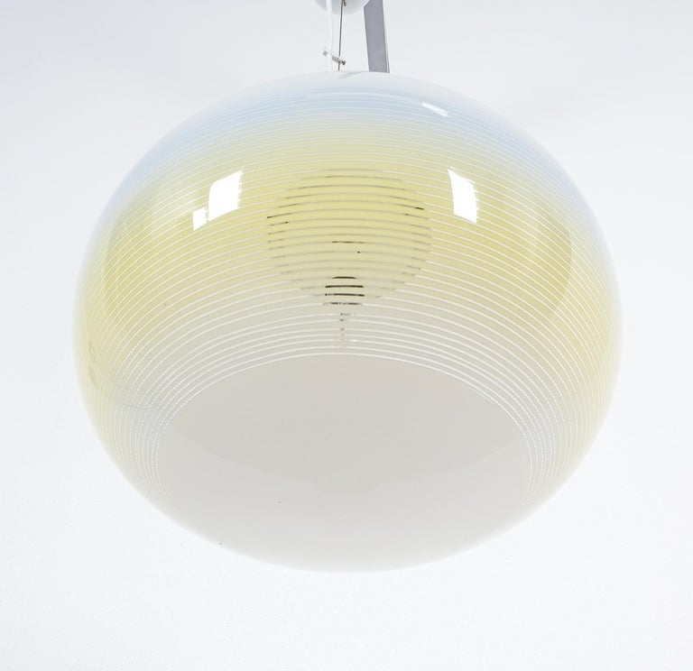 Striped Murano Glass Ball Pendant Lamp Yellow Blue White, Midcentury, Italy For Sale 2