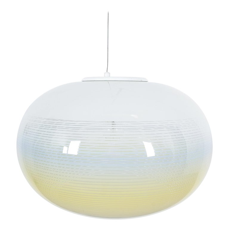 Striped Murano Glass Ball Pendant Lamp Yellow Blue White, Midcentury, Italy For Sale