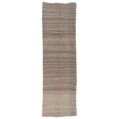 Striped Vintage Kilim Runner. 100% Natural Undyed light Brown Wool