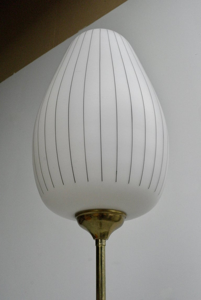 Striped Opaline Glass and Brass Floorlamp, Italy, 1950s For Sale 7