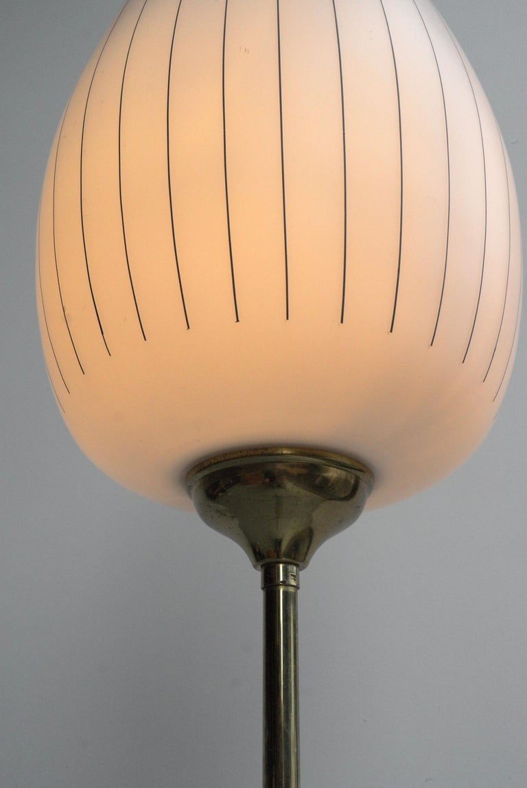 Italian Striped Opaline Glass and Brass Floorlamp, Italy, 1950s For Sale