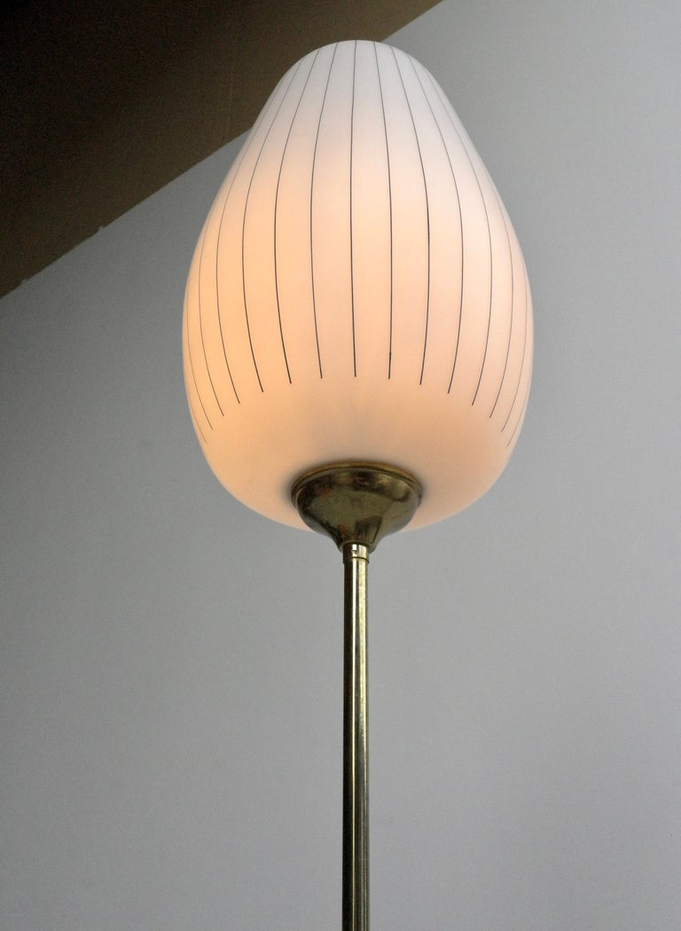 Striped Opaline Glass and Brass Floorlamp, Italy, 1950s For Sale 2