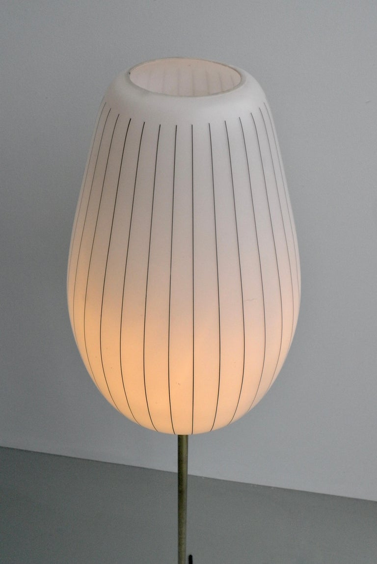 Striped Opaline Glass and Brass Floorlamp, Italy, 1950s For Sale 3