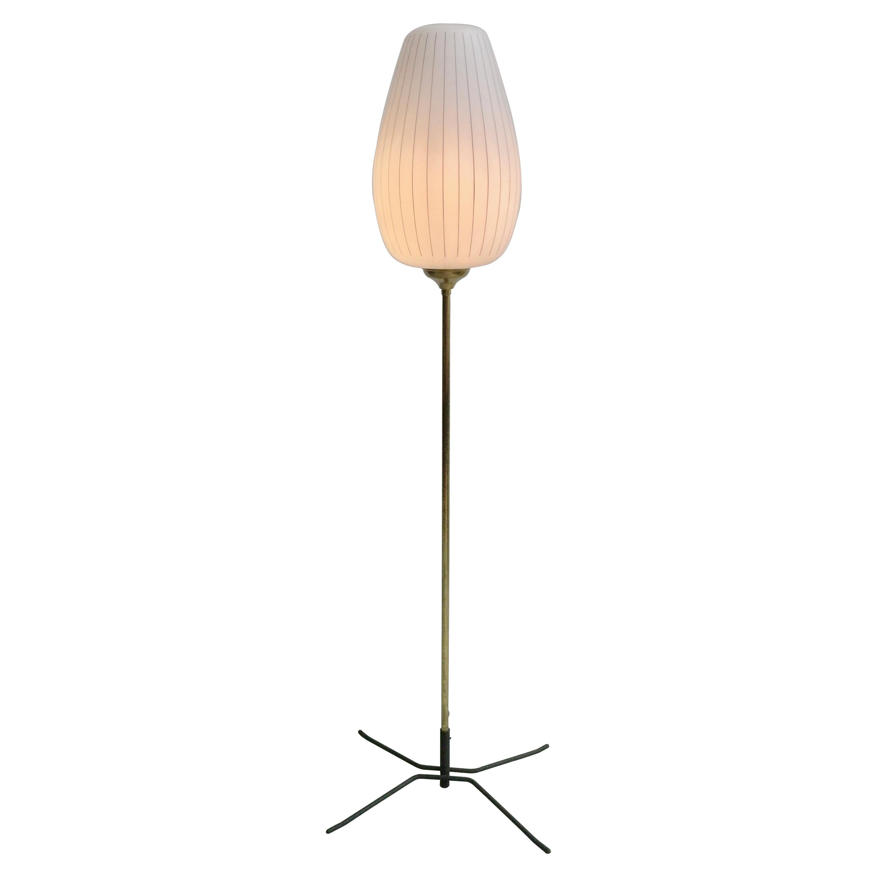 Striped Opaline Glass and Brass Floorlamp, Italy, 1950s