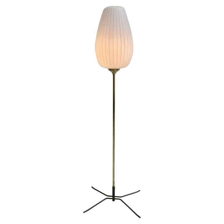 Striped Opaline Glass and Brass Floorlamp, Italy, 1950s For Sale