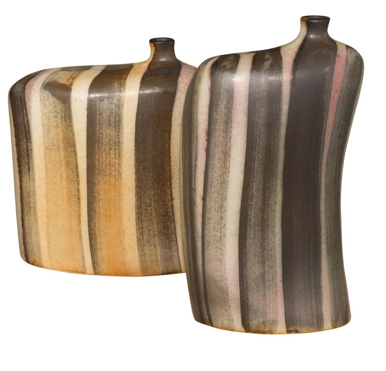 Chinese Striped Pattern Glazed Vase, China, Contemporary For Sale