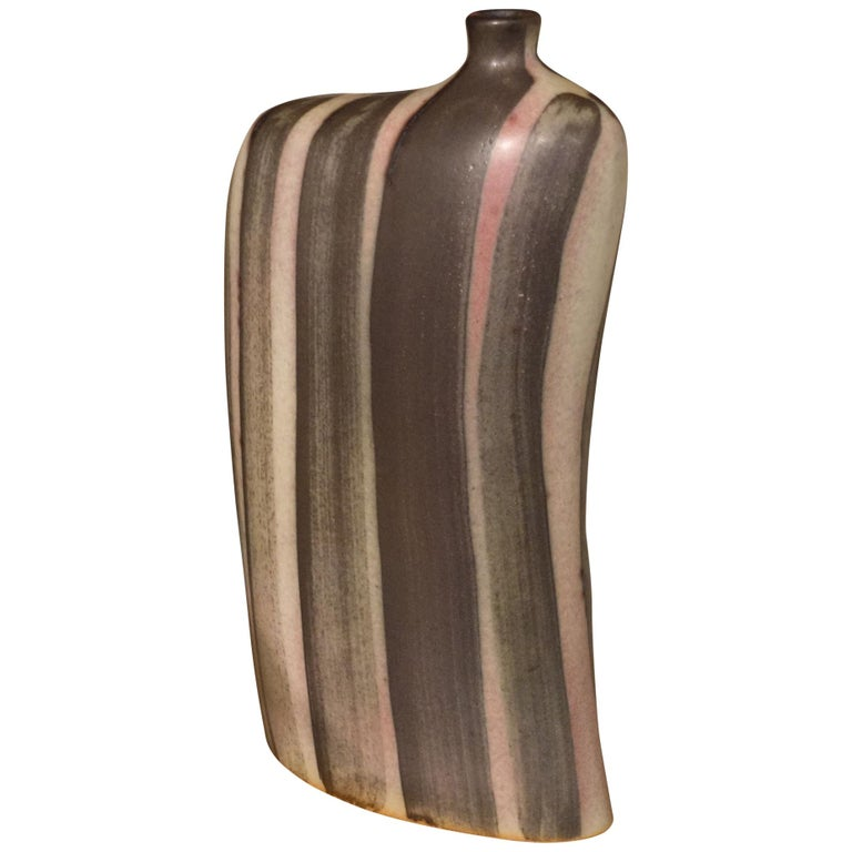 Striped Pattern Glazed Vase, China, Contemporary For Sale