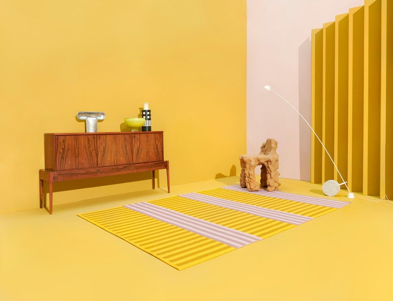 Modern Striped Pink and Yellow 6x9 Woven Wool Rug by Sight Unseen for Kasthall For Sale