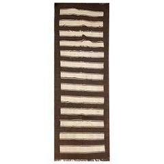 Striped Rug Brown Cream Wool Kilim Handwoven Traditional Carpet