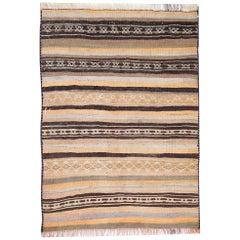 Striped Rug, Kilim Runner Rug Handwoven Vintage Fine Wool